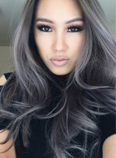 15 Stunning Silver Blonde Hair Color Ideas for 2019 - Style My Hairs Ombre Hair, Balayage Hair, Charcoal Hair, Silver Blonde Hair, Silver Hair Highlights, White Blonde, Curly Hair Styles, Natural Hair Styles, Glam Hair