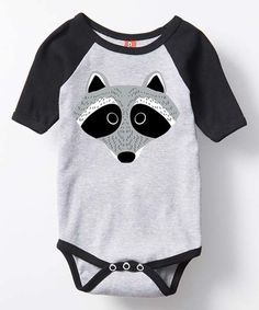 Another great find on #zulily! Athletic Heather & Black Raccoon Raglan Bodysuit - Infant #zulilyfinds