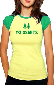Bring back old faithful memories in this cap sleeve Yo Semite tee from Jewish Fashion Conspiracy. Campfire Songs, Jewish Humor, Girls Cuts, Old Faithful, Strong Women, Cap Sleeves, Pop Culture, Classic T Shirts, Double Entendre