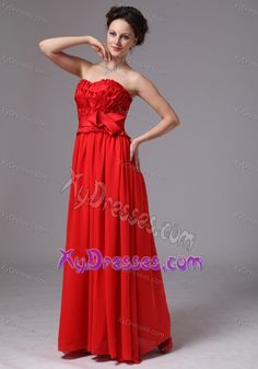 Sweetheart Dress for Prom Court with Ruches and Sash in Red in the Mainstream