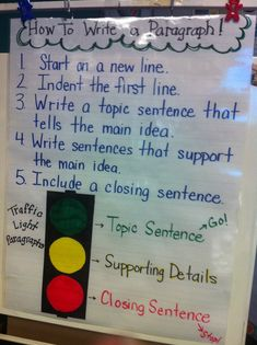 Stop Light Paragraph writing chart Previous pin said: This is just the anchor chart. The whole lesson is hands on paragraph writing. A great idea that incorporates writing using all styles of learning. prince & co. Writing Strategies, Writing Lessons, Teaching Writing, Writing Activities, Writing Ideas, Kindergarten Writing, Teaching Paragraphs, Teaching Ideas, Efl Teaching