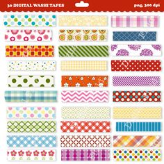 Washi tape clip art set - 30 high quality (300 dpi) PNG printable digital elements perfect for scrapbooking, card making, invitations, graphic