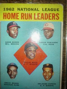 Topps 1962 Home Run leaders.  Willie Mays, Hank Aaron and others