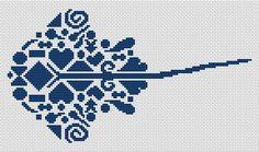 Tribal Stingray Monochrome Cross Stitch - White Willow Stitching Cross Stitch - (Powered by CubeCart)