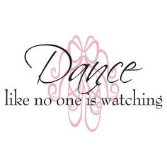 Dance Wall Decal Quote - Dance Like No One Is Watching Ballet Slipper For Girl Baby Nursery Or Girls Room Vinyl Wall Art 22H x 36W GQ004