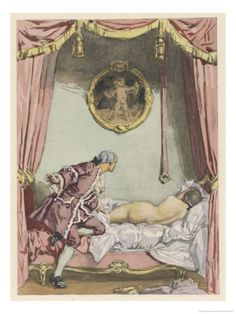 Giovanni Giacomo Casanova Italian Adventurer, He Finds Zeroli Asleep. Watercolor by Auguste Leroux (1871-1954)  from the 1932 French edition of Casanova's Histoire de ma Vie.