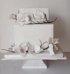 White on white with twigs - Cake by Happyhills Cakes Take The Cake, Love Cake, Gorgeous Cakes, Pretty Cakes, Cupcakes, Cupcake Cakes, Modern Cakes, Unique Cakes, Bridal Shower Cakes