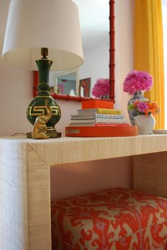 Grasscloth console. Dear Husband, If we can't have a grasscloth wall, how abotu a grasscloth console?