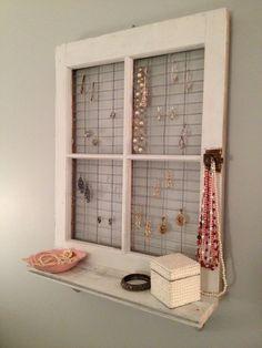 old window frames decorating ideas | window frame wall decor | Vintage Window Frame and Shelf Wall Decor ...