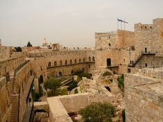 Archeological Garden of the Tower at the Citadel of David in the Old City of Jerusalem near the Jaffa Gate.