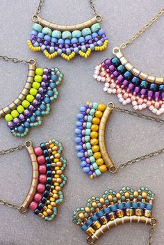 Turquoise & Yellow Boho Sway Earrings >> Made-To-Order >> Turquoise, Purple, Yellow Woven Seed Beads in Brass > Bohemian Beaded Earrings - Handmade Jewelry 💍 Seed Bead Jewelry, Seed Bead Earrings, Beaded Earrings, Beaded Jewelry, Jewelry Necklaces, Handmade Jewelry, Beaded Bracelets, Seed Beads, Hoop Earrings