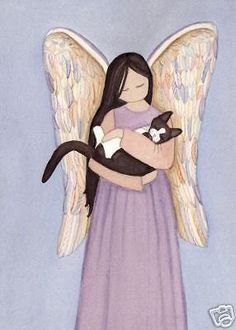 Black and white tuxedo cat cradled by angel / Lynch signed folk art print  #folkart