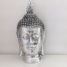 Check out Silver Art Thai Buddha Head Figurine Statue Home Living Bedroom Decoration Gift
