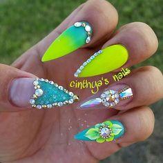 My nails last month love them  sorry git nail polish all over my hand lol  #neonyellow #neon #summer #naillife #nailhub  #hudabeauty #naturalnails #simplenails #elegante #badassnails #nailguru #bestnails #nailsonfleek #nailsonpoint  #badaf #blingnails  #nails  #barbienails #barbie  #swarovsky #swarovskynails #acrylicnails #acrylic #instanails  #nailporn #cutenaildesigns  #cinthyasnails