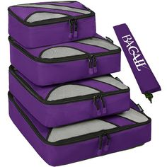 4 Set Packing Cubes,Travel Luggage Packing Organizers with Laundry Bag Purple. Would need two colors. One for me one for Rob.
