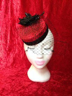 20628779630 One of a kind vintage glamour inspired red velvet black sequin rhinestone  face veil flower bead burlesque pillbox hat fascinator rockabilly