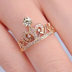 Women's Crown Ring 925 Sterling Silver Rose Gold Plated