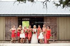 Google Image Result for http://www.bendthelightblog.com/wp-content/uploads/2012/05/16-coral-and-pink-poppy-bridesmaid-dresses-barn-cowboy-boots-bridesmaids-wedding-bride-kendall-creek-don-strange-ranch-pics.jpg