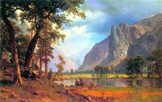 Albert Bierstadt Yosemite Valley painting is available for sale; this Albert Bierstadt Yosemite Valley art Painting is at a discount of off. Landscape Art, Landscape Paintings, Landscapes, Albert Bierstadt Paintings, Art Occidental, Hudson River School, Poster Art, Print Poster, Vintage Poster