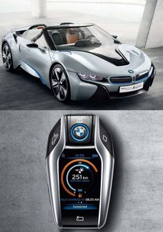 BMW i8 Spyder and it's key. This car cost about the same as a 911, will go like a 911, but runs on only 3 cylinders. Good job, BMW
