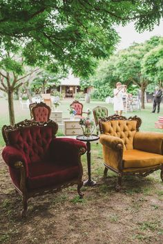 I LOVE VELVET CHAIRS. It would be great to have a sitting area for our older guests at the reception. Maybe upstairs?