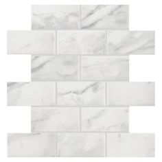 American Olean Mooreland Carrara White Subway Mosaic Ceramic Wall Tile (Common: 11-in x 11-in; Actual: 10.93-in x 10.93-in)