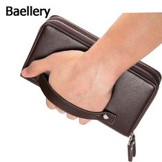 Baellerry 2016 Clutch Bag Men Wallets Black Brown Luxury Large Capacity Gift for Male Double Zipper Long Wallet Handbag Purse