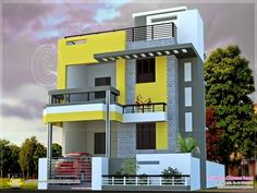 Modern House Plans In India House Plans - Modern Modern Exterior House Designs, Small House Exteriors, Exterior House Colors, Exterior Design, Exterior Paint, Simple House Design, House Front Design, Modern House Design, Door Design