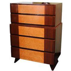 1940s Streamline Moderne Highboy Dresser by R-Way