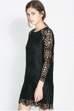 Fashion lace hollow sketch leather dress_Dresses_CLOTHING_Voguec Shop