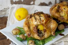 Downton Abbey dinner party menu: Lemon Butter Roasted Cornish Hens #recipe