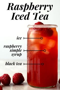 How to make raspberry iced tea at home. - Raspberries - Ideas of Raspberries - How to make raspberry i : How to make raspberry iced tea at home. - Raspberries - Ideas of Raspberries - How to make raspberry iced tea at home. Raspberry Ice Tea Recipe, Raspberry Iced Tea, Raspberry Syrup, Pineapple Iced Tea Recipe, Rasberry Smoothie Recipe, Pineapple Tea, Raspberry Recipes, Diet Drinks, Smoothie Drinks