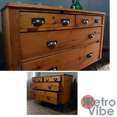 Reclaimed Solid Vintage Sideboard/Chest of Drawers on Hairpin Legs