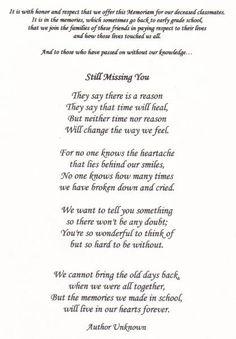 class reunion memorial poems | Found on jhsclass1988.classquest.com