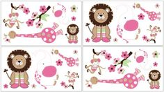 Jungle Friends Wall Decal Stickers by Sweet Jojo Designs  Set of 4 Sheets