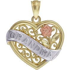 10K Tri-Tone Gold Grandma Pendant (One Size) - Womens > Necklaces +... ($100) ❤ liked on Polyvore featuring jewelry, pendants, gold jewellery, yellow gold heart pendant, heart pendant, heart pendant jewelry and yellow gold pendant
