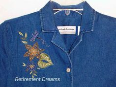 ALFRED DUNNER Denim Shirt 8P 8 Petite Beaded Blue floral Dragonfly #AlfredDunner #ButtonDownShirt #Casual
