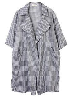 Casual Plaid Lapel Half Sleeve Thin Pockets Cardigan For Women