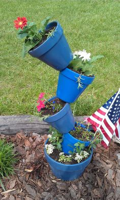 My moms blue pots with red and white flowers!