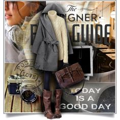 "This is the way to dress during winter month: great coat, cable sweater, leggings, pair of leather boots, and a rustic leather shoulder bag. Protect your leather investment with WhooHoo-Clean leather care products! Peace of mind! Sold on Amazon.com. ""Today is a Good Day"" by cynthia335 on Polyvore"