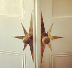 Vintage brass door hardware sunburst -My office doors