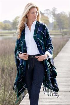 Tartan Plaid Fringed Shawl: Your coat replacement is here! Wrap yourself in this soft shawl and stay warm and stylish all season. Neck and shoulders are shaped so it sits comfortably without sliding or bunching!