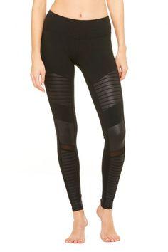 ALO Yoga - Moto Legging - Black-Black-Glossy-1