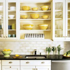 White cabinets, open shelves, glass cabinets, subway tile