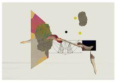 The flying exercise III - art print- mixed media digital collage. $30.00, via Etsy.