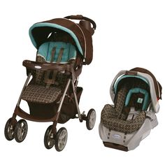Taking your infant on the go is easy with this brown travel stroller and car seat set. The rear-facing infant seat goes easily from your vehicle to the stroller and locks in place. The stroller uses a five-point harness for when baby is bigger.