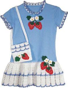 Imagem de morango T-shirt vestido e padrão bolsa Crochet