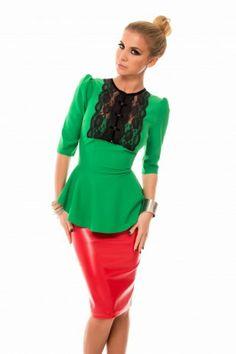 Bluza Regga Verde- www. Peplum Dress, Valentines, Green, Collection, Tops, Dresses, Fashion, Women, Valentine's Day Diy