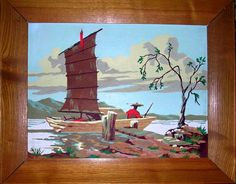 Vintage Paint by Number Oriental Scene 20X16 inches. 42.50, via Etsy.
