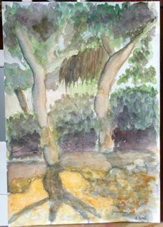 Jardín del Turia.  Acuarela.  Amparo Ramis